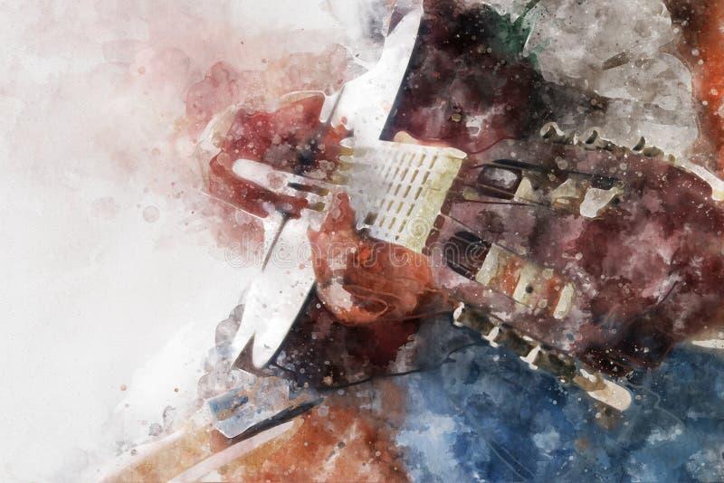 bild för vattenfärgstilabstrakt begrepp av unga flickan som spelar den akustiska gitarren royaltyfri illustrationer