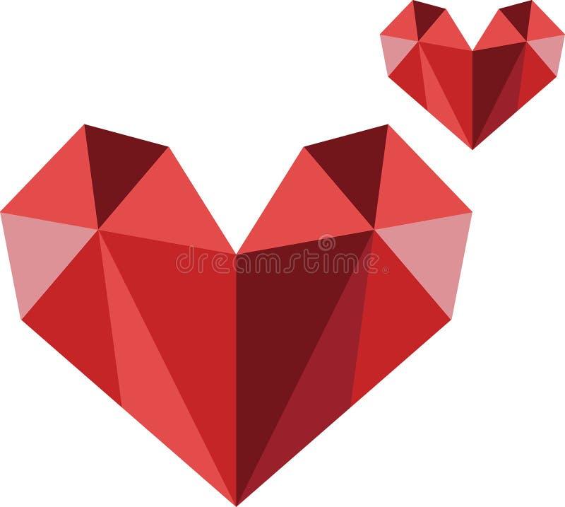 Bild för vektor för logo för polygonhjärta modern stock illustrationer