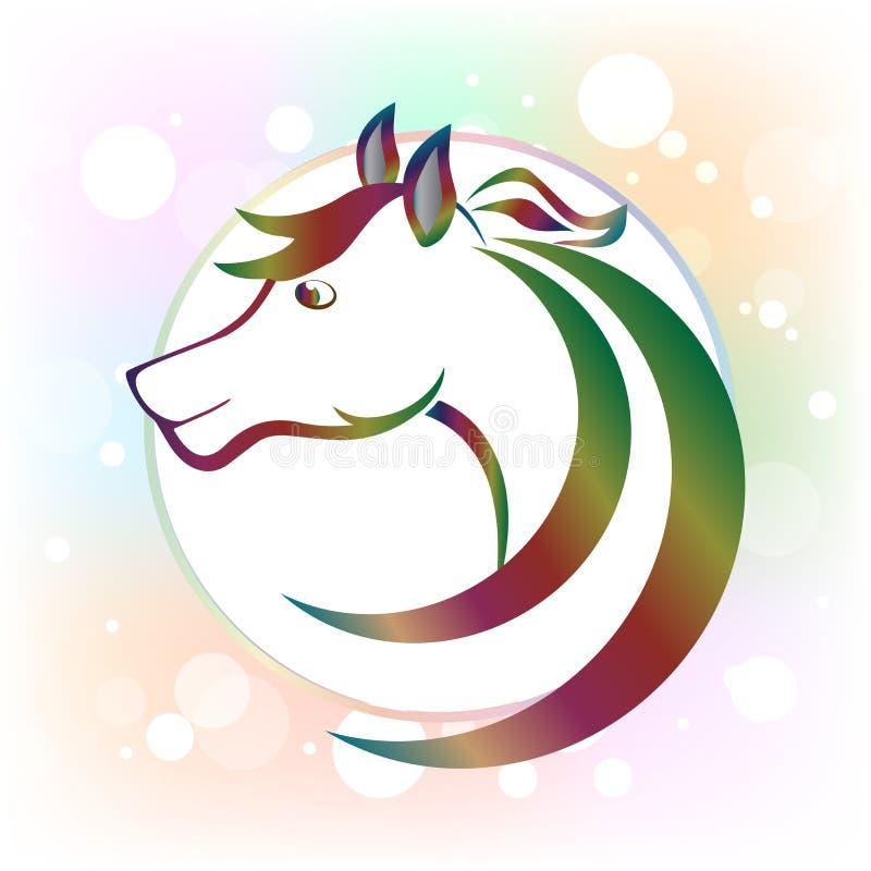 Bild för vektor för logo för symbol för ram för cirkel för hästhuvud stock illustrationer