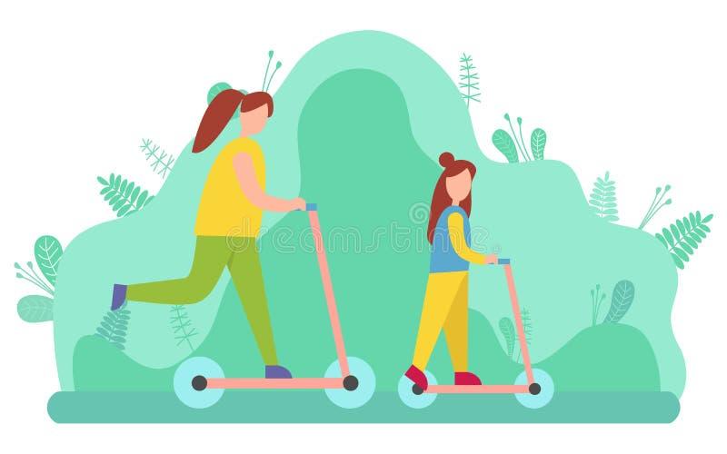 Bild för vektor för moder- och dotterridningsparkcykel stock illustrationer