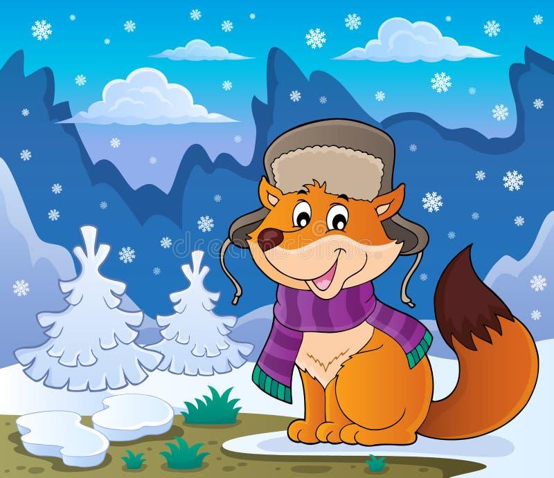 Bild 2 för vinterrävtema royaltyfri illustrationer