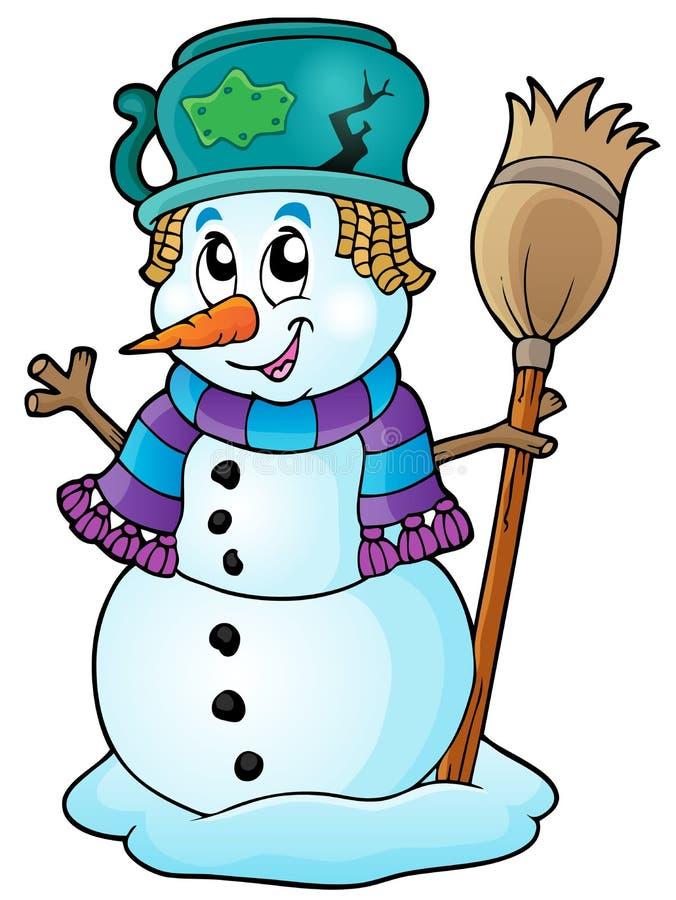 Bild 6 för vintersnögubbetema royaltyfri illustrationer