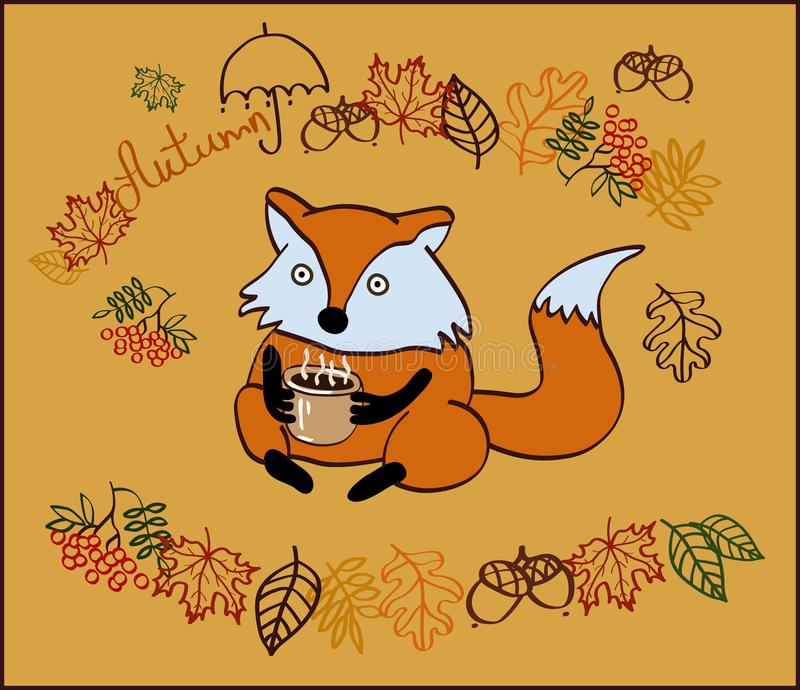 Bild hösten med ett fox-tecken arkivbild