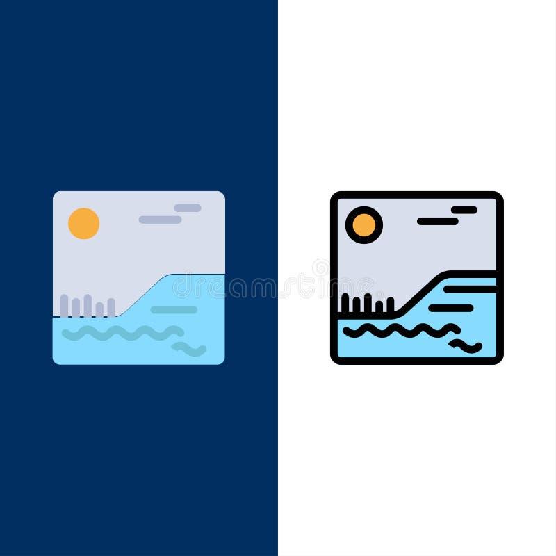 Bild, Bild, Kanada-Ikonen Ebene und Linie gefüllte Ikone stellten Vektor-blauen Hintergrund ein stock abbildung