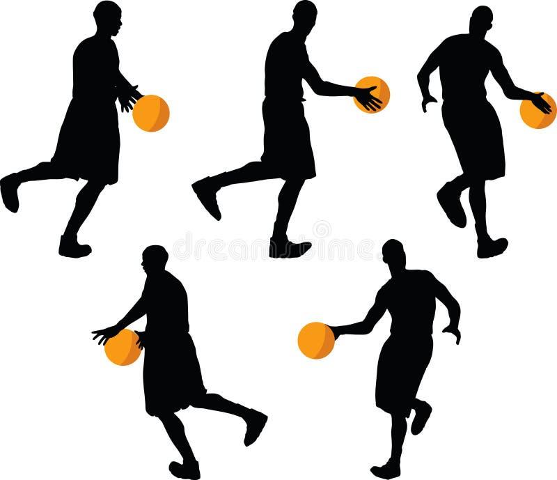bild - konturn för basketspelaren i drible poserar, isolerat på vit bakgrund stock illustrationer