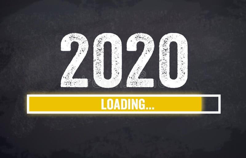 Bild mit Asphalt und Tafel mit 2019 und 2020 stock abbildung