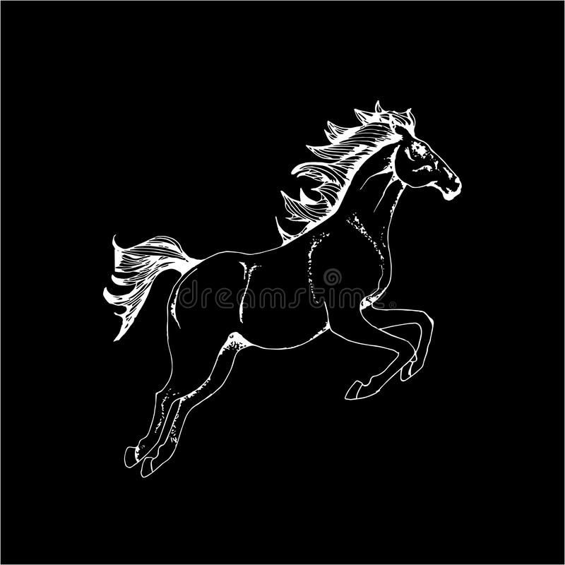 Bild mit einem galoppierenden Pferd Laufende Tiert?towierung Kreide auf einer Tafel lizenzfreie abbildung