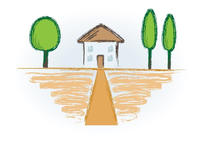 Bild mit Haus und Bäumen lizenzfreie abbildung