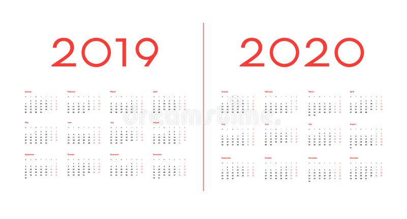 bild 2019 och 2020 för kalendermallvektor royaltyfri fotografi