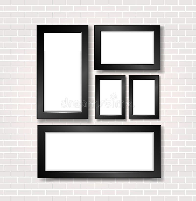 Bild- och fotoram på den vita tegelstenväggen royaltyfri illustrationer
