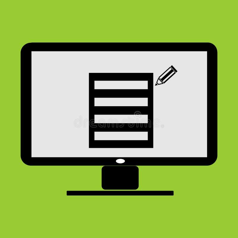 Bild och ikon för anteckningsblock eller miniatyrbild av memorandumet i bild och ikon för datorvektorn för LC-bildskärm royaltyfri illustrationer