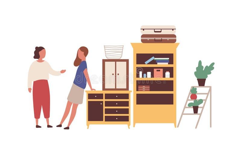 Bild på flea market flat vektor för kvinnor Cartoon-flickor, grannar som möts i garaget Kvinnliga köpare frågar royaltyfri illustrationer