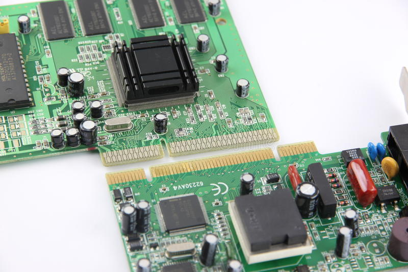 Bild som bearbetar brädet för strömkrets för datorutrustning. fotografering för bildbyråer