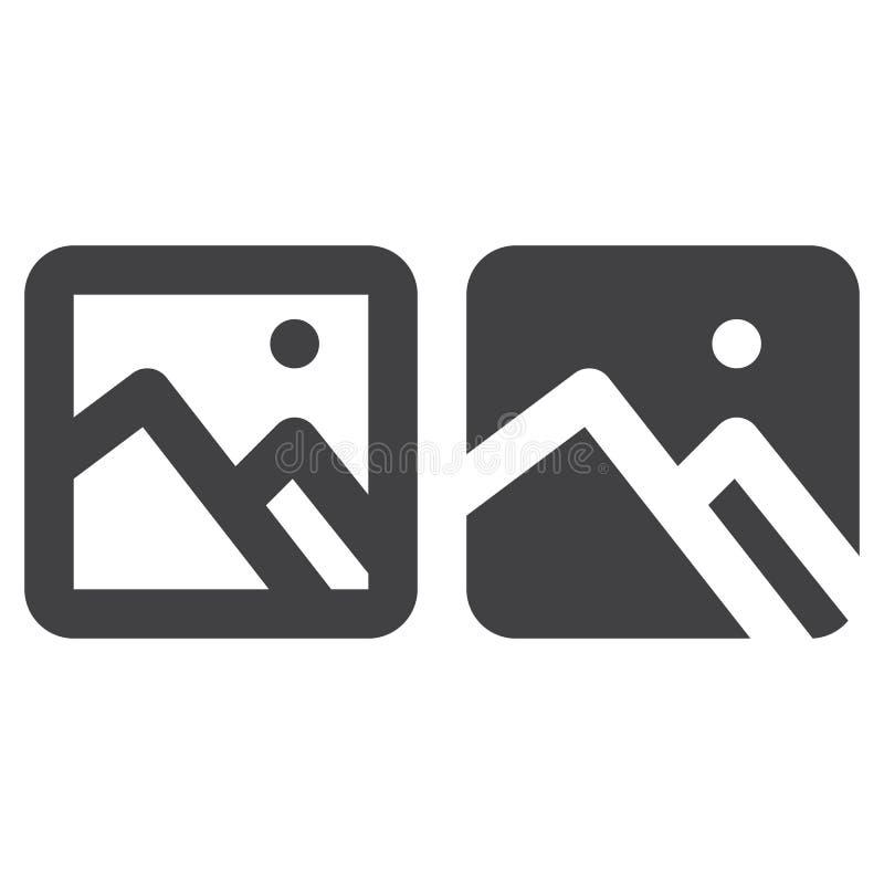 Bild, starke Linie des Bildes und feste Ikone, Entwurf und gefülltes Vektorzeichen-, lineares und vollespiktogramm lokalisiert au vektor abbildung