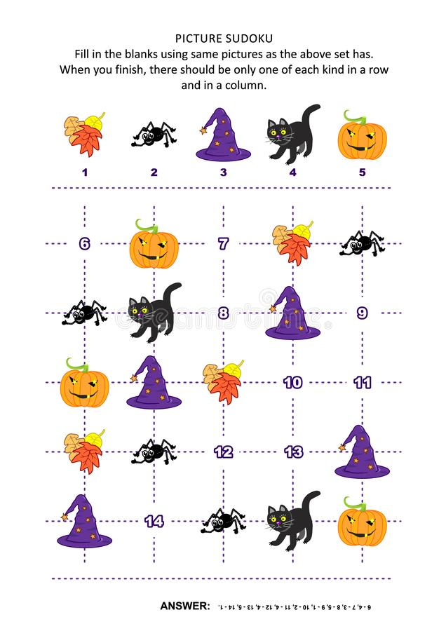 Bild sudoku Puzzlespiel mit Halloween-Ikonen vektor abbildung