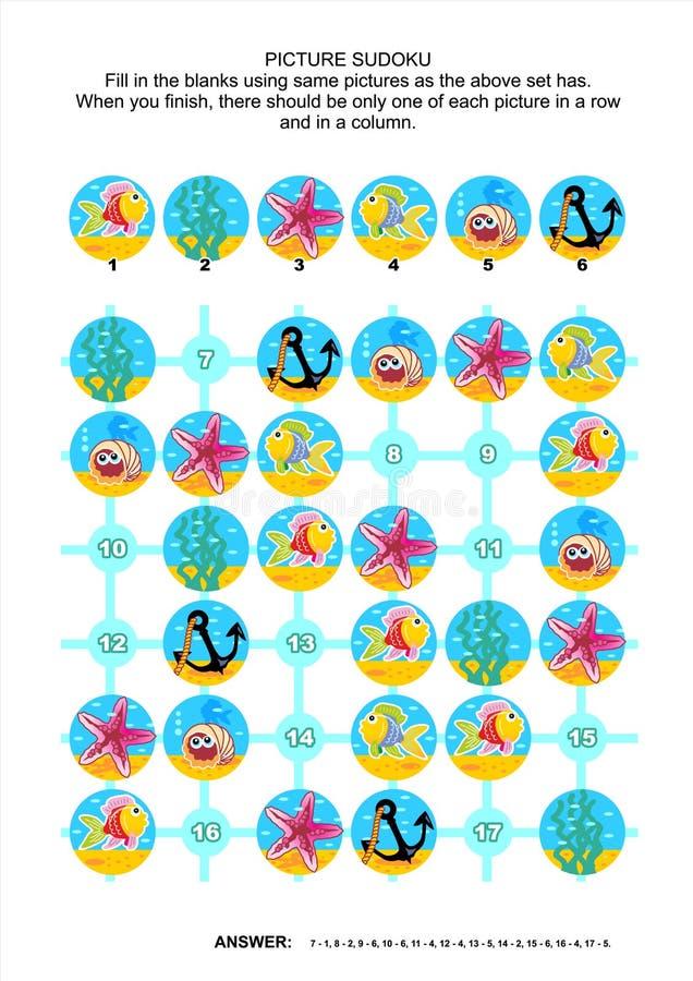 Bild sudoku Puzzlespiel, Unterwasserthemenorientiertes lizenzfreie abbildung