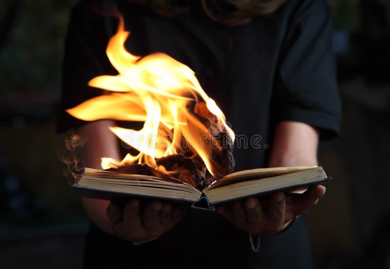 Bild von Buch Burning in den Frauenhänden im dunklen Wald stockbild