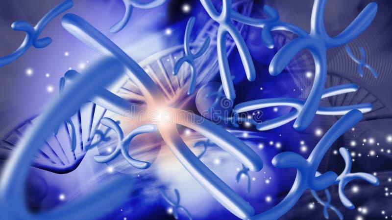 Bild von Chromosomen auf einem blauen Hintergrund stock abbildung