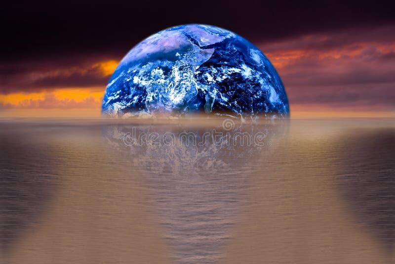Bild von Erde mit Ozean als Hintergrund stock abbildung