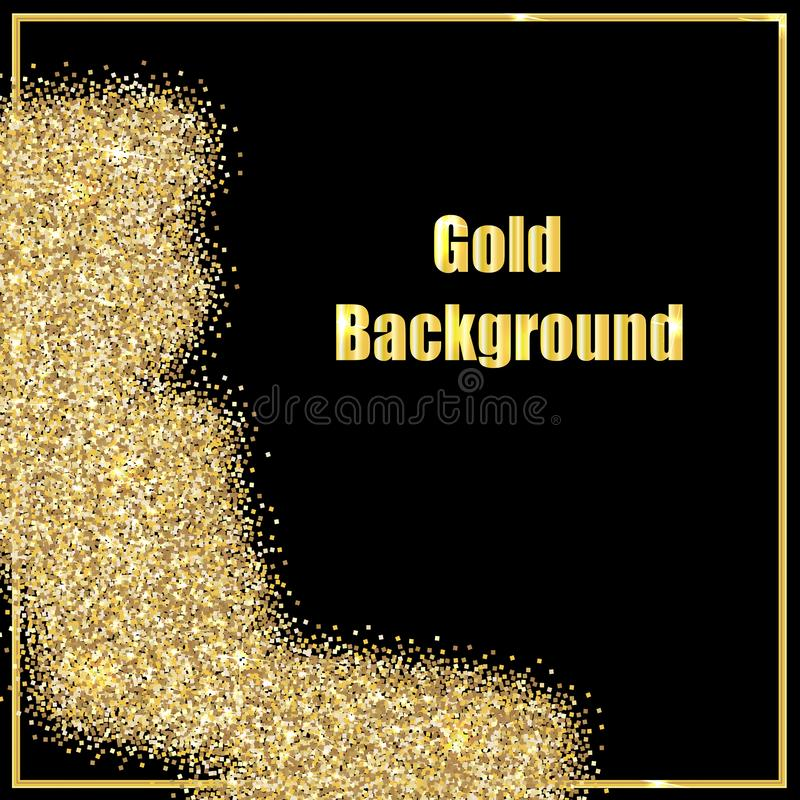 Bild von Goldpailletten auf einem schwarzen Hintergrund vektor abbildung