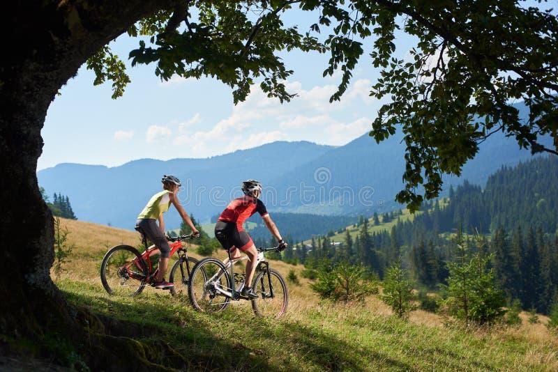 Bild von jungen touristischen Paaren, von Mann und von Frau in Radfahrenfahrrädern der Berufssportkleidung unten stockfotos