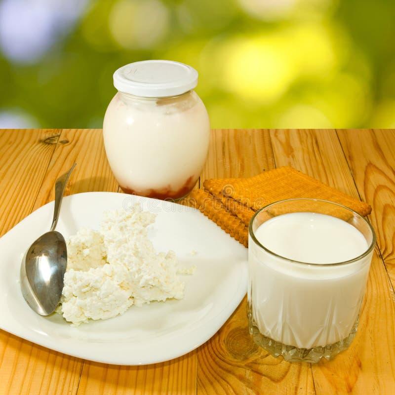 Bild von Milchprodukten auf einem grünen Hintergrund lizenzfreie stockbilder