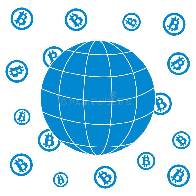 Bild, welches die Möglichkeit der Anwendung von bitcoin als Mittel des Lohns zeigt stock abbildung