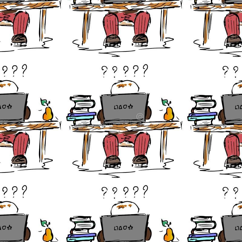 bilda illustration Folk på arbete Studie period, arkiv, studentliv seamless modell royaltyfri illustrationer