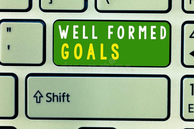 Bildade mål för handskrifttext väl Begrepp som betyder mål eller målet för inre coachning rättframa royaltyfri bild