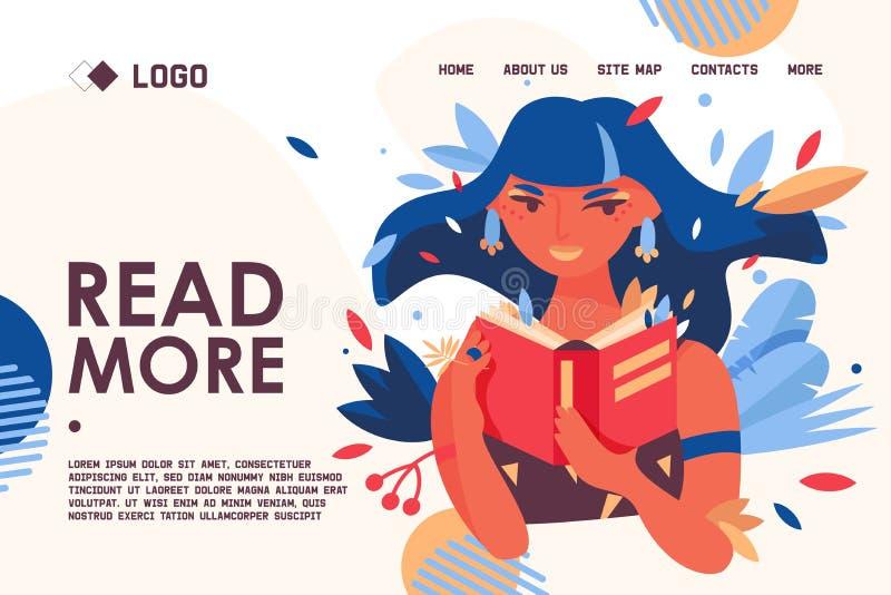 Bildande baner eller landa sidabegreppsmallen om förälskelse till att läsa För kvinnatecken för vektor som älskvärd stående rymme royaltyfri illustrationer