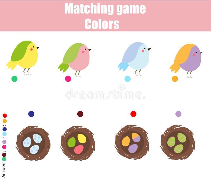 Bildande barnlek Match vid färg Fyndpar av fåglar och reden vektor illustrationer