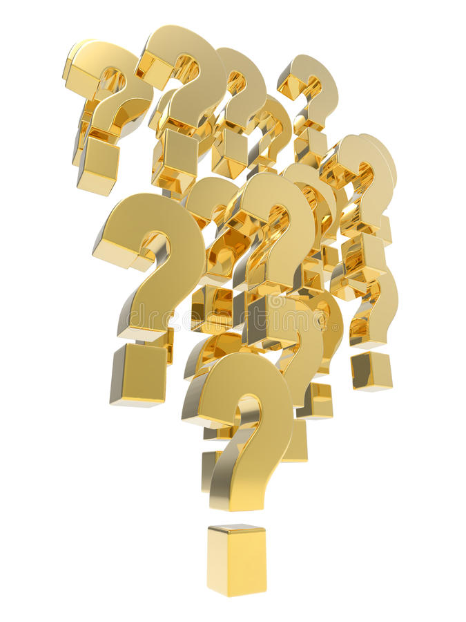 bildande 3d av guld- frågefläckar royaltyfri illustrationer
