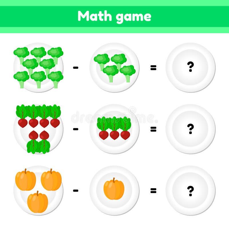 Bildande en matematisk lek Logikuppgift för barn subtraktion Grönsaker Broccoli beta, pumpa stock illustrationer
