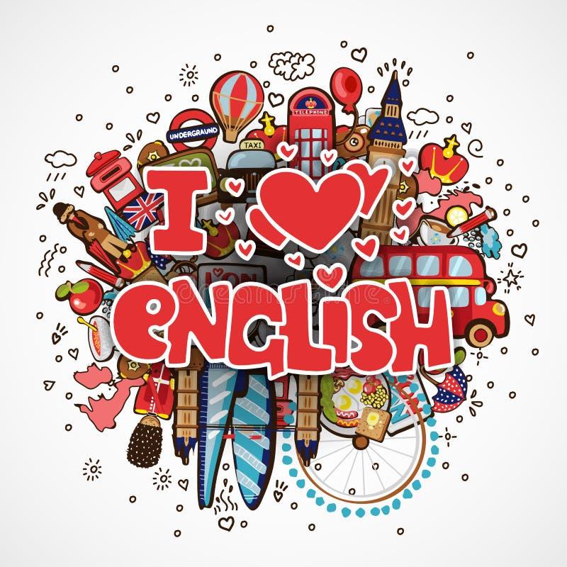 Bildande för FÖRÄLSKELSE för uttryck I ENGELSKT och resande begrepp Jag älskar den engelska vektortecknad filmillustrationen som  stock illustrationer