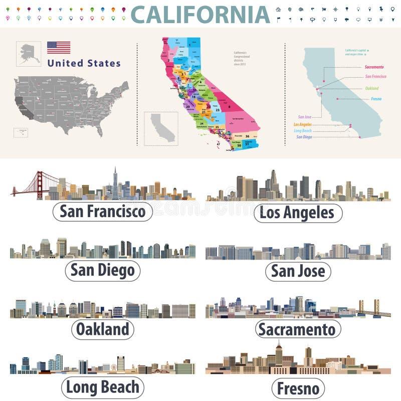 Bildande för län för visning för översikt för vektor för Kalifornien ` s höga detaljerade Horisonter av viktiga städer av Kalifor vektor illustrationer