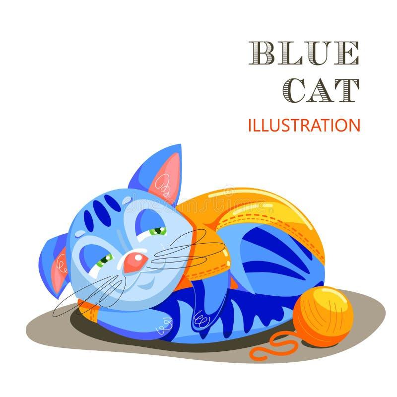 Bildande flashcard med katten på gräset Beståndsdel av designen av ett modeklädlager och saker för djur vektor illustrationer