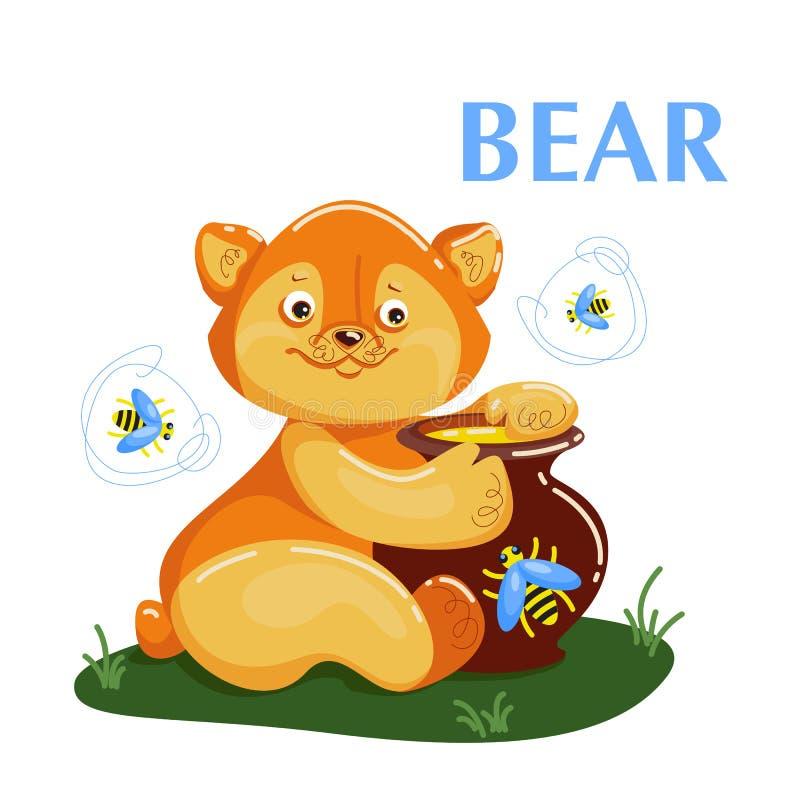 Bildande flashcardbjörn som äter honungen och flyger biet stock illustrationer