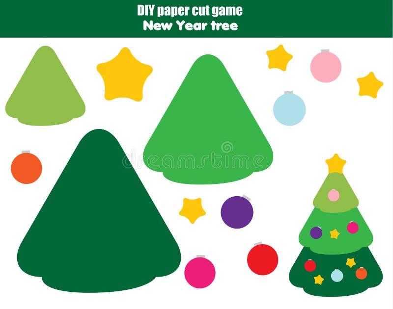 Bildande idérik lek för DIY-barn Papperssnittaktivitet Gör ett nytt år, julgran med lim vektor illustrationer