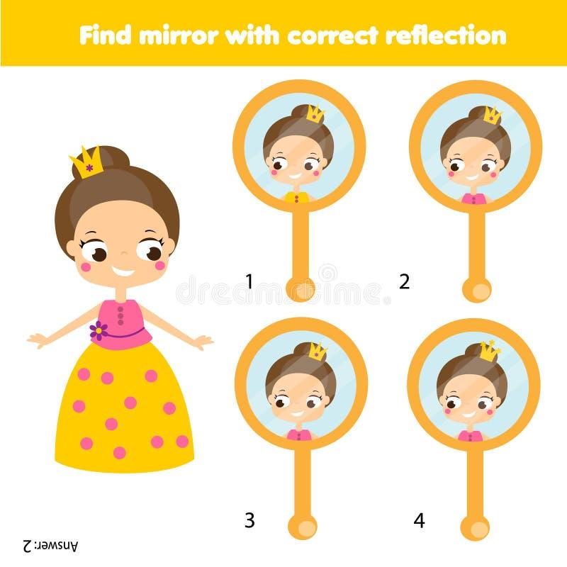 Bildande lek för barn Matcha par Finna den korrekta reflexionen i spegel stock illustrationer