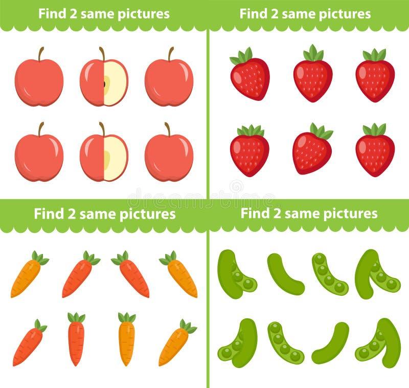 Bildande lek för barn s Fynd två samma bilder också vektor för coreldrawillustration royaltyfri illustrationer