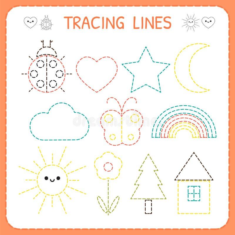 Bildande lek för dagis för ungar Förskole- spårande arbetssedel för praktiserande motorisk expertis Streckade linjer vektor illustrationer