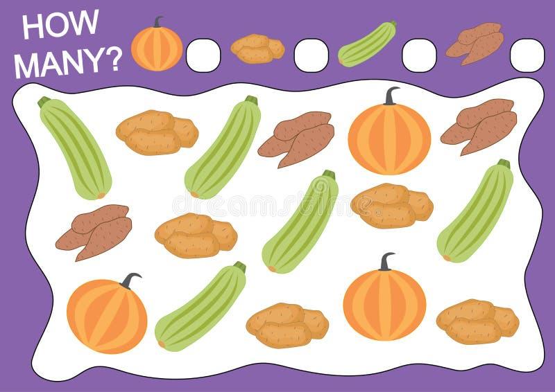 Bildande lek för förskole- barn Räkna hur många objekt vektor illustrationer