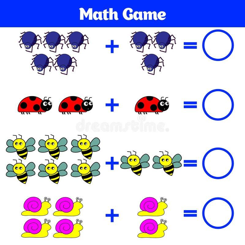 Bildande lek för matematik för barn Lära subtraktionsarbetssedeln för ungar som räknar aktivitet också vektor för coreldrawillust vektor illustrationer