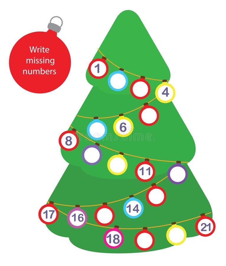 Bildande lek för matematik för barn Skriv de saknade numren Jul temagyckel för nytt år för små barn vektor illustrationer