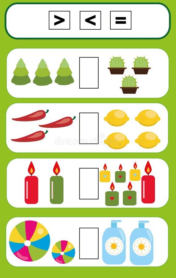 Bildande lek för matematik för barn Avsluta den matematiska likställandeuppgiften, välj mer, mindre eller lika vektor illustrationer