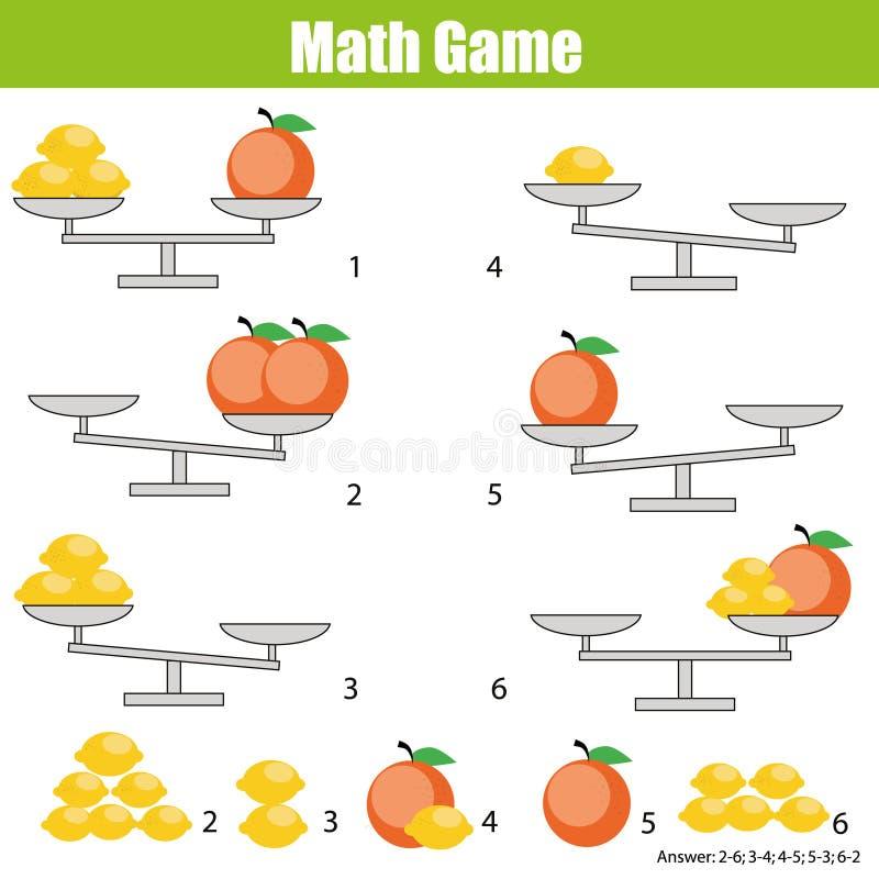 Bildande lek för matematik för barn balansera skalan royaltyfri illustrationer