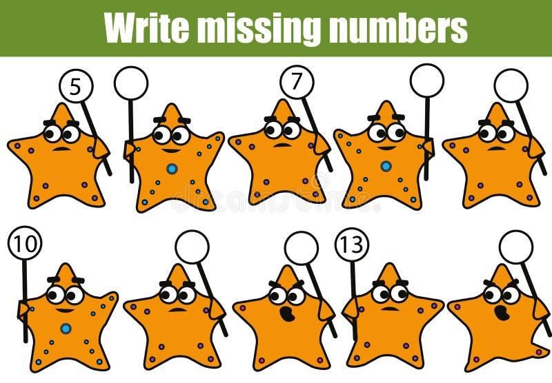 Bildande lek för matematik för barn Skriv de saknade numren stock illustrationer