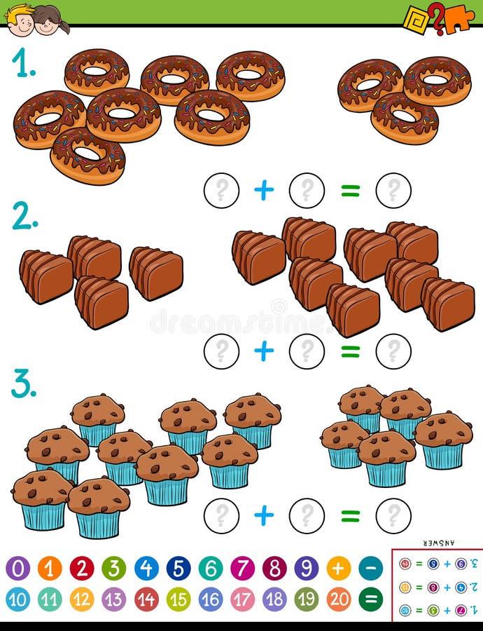 Bildande lek för matematiktillägg med godisar vektor illustrationer