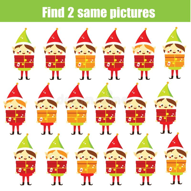 Bildande lek f?r barn Finna de samma bilderna Finna älvan för två den identiska jultomten Julgyckel för ungar och små barn stock illustrationer