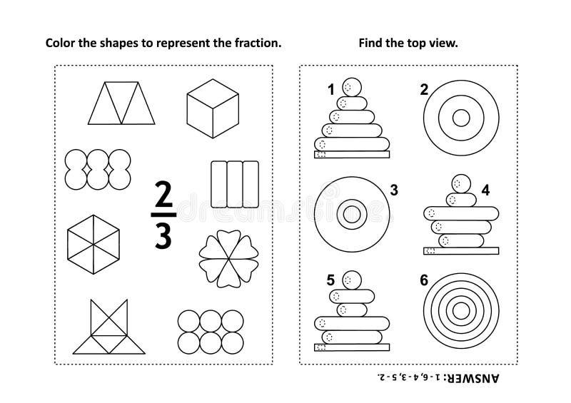 Bildande matematikaktivitetssida med två pussel och färgläggning - bråkdelar, rumslig expertis royaltyfri illustrationer